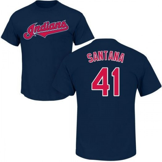 Carlos Santana Cleveland Indians Youth Navy Roster Name & Number T-Shirt -